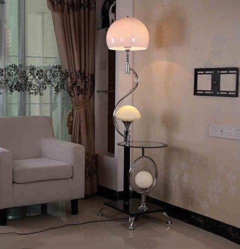ZHDC® Lampara de pie simple, hierro Nuevo estilo chino moderno con la mesa de centro Lamparas decorativas Interruptor doble Alto 167cm lampara de piso (Color : Blanco)