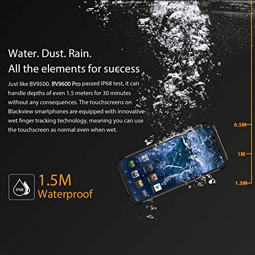 (2019) Blackview BV9600 PRO - Helio P70 6GB+128GB, 4G rugged smartphone unlocked, Android 9.0 IP68 waterproof outdoor phone, 6.21 Inch FHD+ AMOLED Screen, DUAL SIM, NFC/GPS, Wireless charge Black