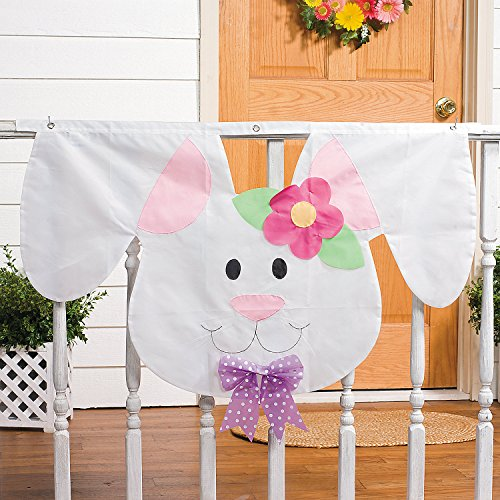 (Fun Express - Fabric Bunny Head Banner for Easter - Home Decor - Outdoor - Banners & Windsocks & Flags - Easter - 1 Piece )