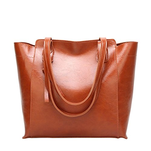 Vintage Style Girl Women's Solid Color Leather Handbags, Zippered Bags Hanging Decorations Brown Hand