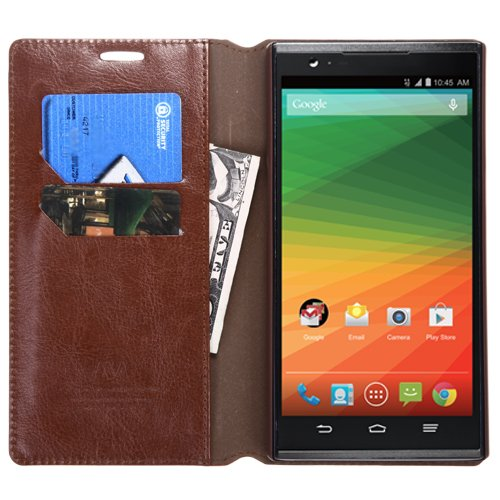 Brown PU Leather ID/Wallet Case Pouch For ZTE Z970(ZMAX) MYBAT