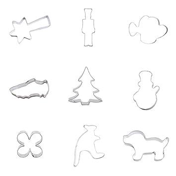 9 cortadores de galletas de metal para fondant de pastelería, perro, cachorro, canguro, hoja de trébol, muñeco de nieve, árbol de Navidad, ...