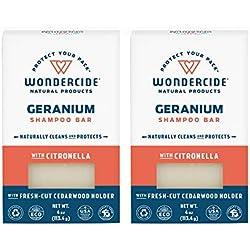 Wondercide Natural Flea & Tick Shampoo Bar for Dogs & Cats - Kills & Repels Fleas - Geranium 4oz Bar 2 Pack