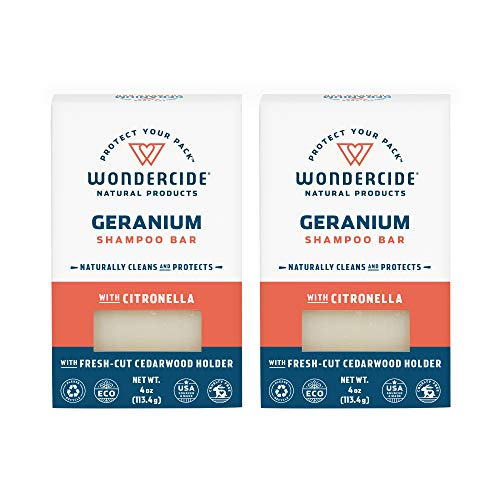 Wondercide Natural Flea & Tick Shampoo Bar for Dogs & Cats - Kills & Repels Fleas - Geranium 4oz Bar 2 Pack