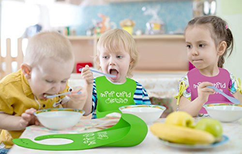 Silicone Bib With Pocket For Baby & Toddlers, Food / Crumbs Catcher, Modern Twist,Stain Resistant Baby Bibs Set For Boys & Girls That's BPA Free, Waterproof, Baby Gift Set Lime Green & Turquoise