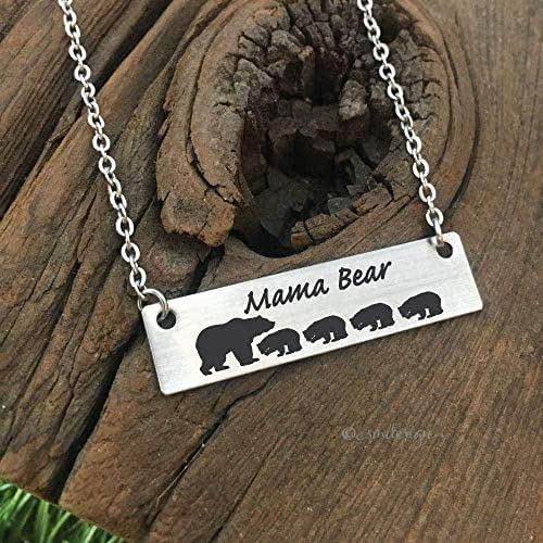 Bar Necklace Mama Bear Necklace Gifts for Mom Gifts Valentine's Day Gift For Wife Gift Jewelry Wife Mother's Day Birthday Remembrance Option