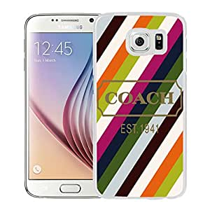 Luxury Coach 27 White Samsung Galaxy S6 Screen Phone Case Genuine and Unique Style