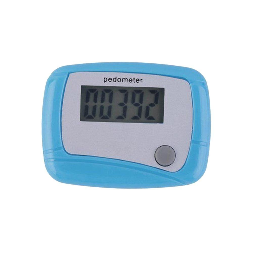 BleuMoo 1Pc LCD Digital Step Counter Walking Distance Counter Jogging Running (Blue)