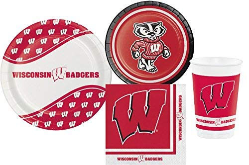 (Wisconsin Badgers Party Pack! Bundle Includes Plates Napkins & Cups for 8 Guests)