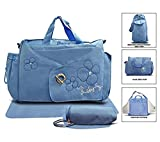 Todd Baby Official Brand New 3 Pc Buckle Blue Quilted Bottle Holder Set Diaper Nappy Changing Stylish Designed Strap Baby-Care Shoulder Bag