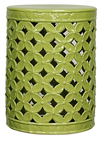 New Pacific Direct Lattice Leaves Garden Stool,Green,Fully Assembled