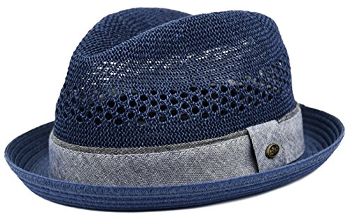 urbanhatshop Men's Vented Summer Fedora Lightweight Derby, Porkpie Stingy Brim, Mesh Hat (Navy, L/XL) ()