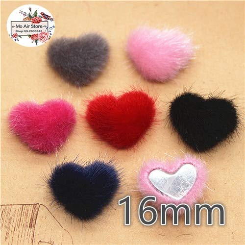 - Pukido 50pcs 16mm Flatback Hairy Fabric Covered Heart Buttons Home Garden Crafts Cabochon Scrapbooking DIY 16mm - (Color: Mix Color 50pcs)