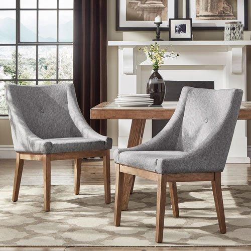 HomeHills Century Grey Linen Slope Arm Side Chair, Set of 2