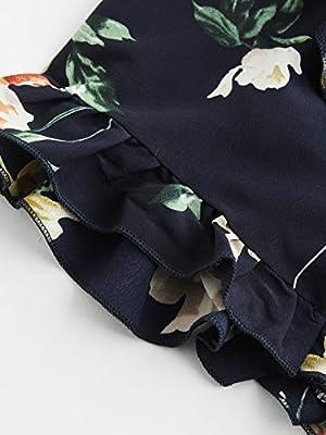 SweatyRocks Women's Boho Floral Print Spaghetti Strap Crop Cami Top With Shorts