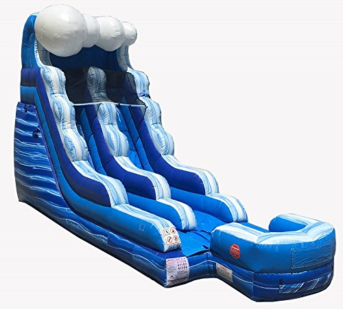 Great White Wild Slide - 15-Foot Tall, 24-Foot Long Blue Marble Tidal Wave Inflatable Water Slide, Wet or Dry, Commercial Grade, 1.5 HP Blower and Stakes Included