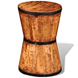 Festnight Mango Wood Stool Round End Side Table Living Room Bedroom Home Furniture Suit Both Indoor Outdoor 11.8″ x 11.8″ x 17.7″ (L x W x H)