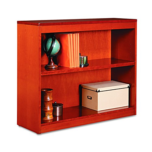 Alera ALEBCS23036MC Square Corner Wood Bookcase, Two-Shelf, 35-5/8w x 11-3/4d x 30h, Medium Cherry by Alera