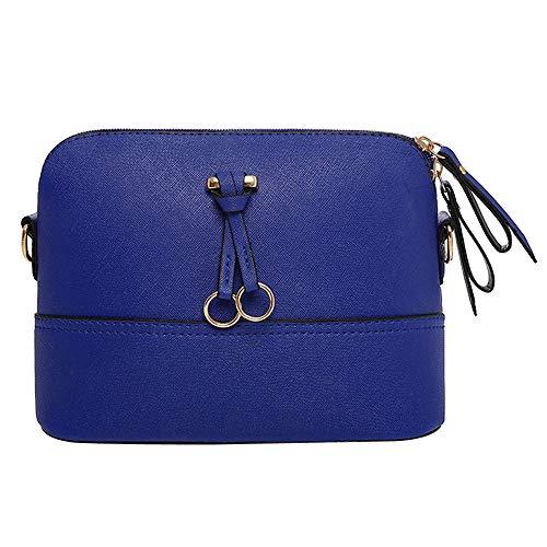 Clearance Sale! ZOMUSAR Women Fashion PU Leather Zipper Small Deer Splice Handbag Shoulder Shell Bag Shiny Crossbody Tote Bag (Blue )
