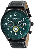 Akribos XXIV Men's AK751GN Swiss Quartz Movement Watch with Green Matte Dial and Multicolored Sub dials with Black and White Stitching Leather Calfskin Strap