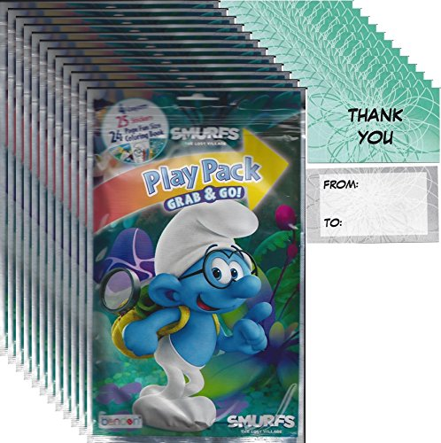 Smurfs Grab n Go Play Packs (12 Packs) Party Favors and 12
