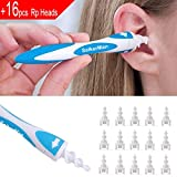 Earwax Remover, SaikerMan Soft Safe Silicone Spiral Ear Wax Removal Cleaner Tool with 16 pcs Replacement Heads