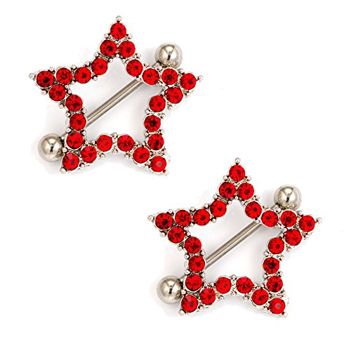 CrazyPiercing Nipple Barbell Ring, Rhinestone Paved Star Shape Nipplerings Piercing, Stainless Steel 14G Nipple Rings Shields Body Piercing Sold As a Pair (Red)