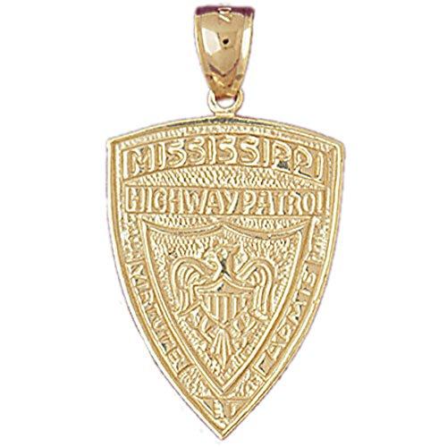Jewels Obsession Mississippi Highway Patrol Pendant | 14K Yellow Gold Mississippi Highway Patrol Pendant - 33 mm