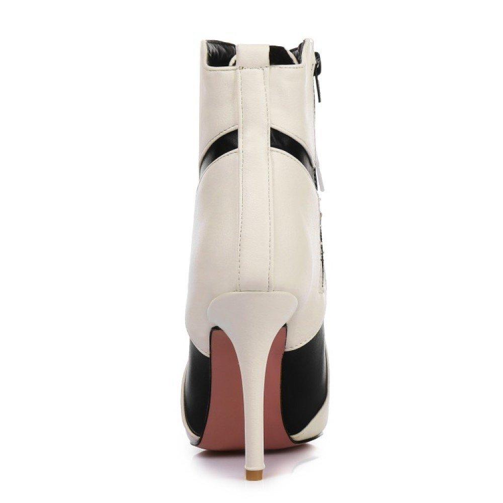 ZPFME Damen Stiefeletten Stilett Hoher Hoher Hoher Absatz Spitzschuh Stiefel Kunstleder Schnüren Mode Party Büro Stiefel Reißverschluss e7b592