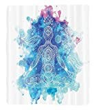 Chaoran 1 Fleece Blanket on Amazon Super Silky Soft All Season Super Plush Yoga Decor Collection Ornamental Indian Art Meditation Chakra Mala Lotus Cross-Legged Position Image Fabric et Navy Aqua