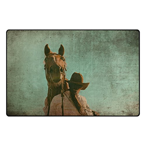 Yochoice Non-slip Area Rugs Home Decor, Vintage Grunge Western Horse Cowgirl Floor Mat Living Room Bedroom Carpets Doormats 31 x 20 inches