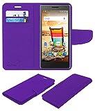 Acm Mobile Leather Flip Flap Wallet Case for Micromax Bolt Q332 Mobile Cover Purple