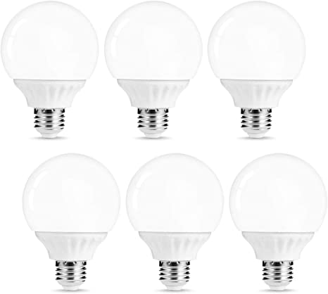 Lohas G25 Led Bulb Vanity Light Globe Bulbs 40w 50w Equivalent Led Makeup Mirror Lights Soft White 3000k 6w Led 500lm Brightness E26 Medium Base