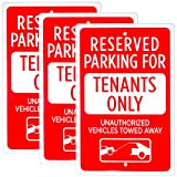 Reserved Parking - Tenants Only Sign, 3-Pack, 18' x 12'   Reflective Restriction Pre-Drilled Metal Industrial Warning Sign for Private Property, Parking Lots, Home Driveways, Yards & Businesses