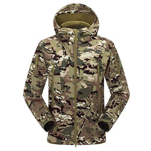 Shark Skin Waterproof Jacket Green Outerwear All'aperto Hooded Zhhlaixing Camouflage Men Fashion Cool Soft ZqfwW4gAt