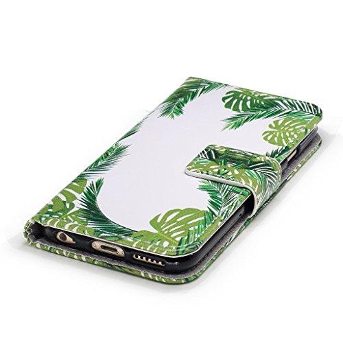 iPhone 6 Plus / 6S Plus Coque,Feuilles vertes Portefeuille Fermoir Magnétique Supporter Flip Téléphone Protection Housse Case Étui Pour Apple iPhone 6 Plus / 6S Plus + Deux cadeau