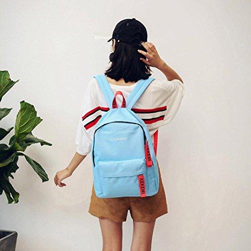 Sinwo Women Girls Letter Print Preppy Style School Bag Travel Canvas Backpack Bag Shouldbag Handbag (Blue)