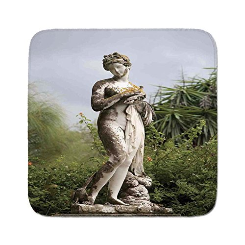 Cozy Seat Protector Pads Cushion Area Rug,Sculptures Decor,Sculptured Figure among Greenery on the Grounds of the Achillion Palace Corfu Island,Green Beige,Easy to Use on Any (Palace Beige Rug)