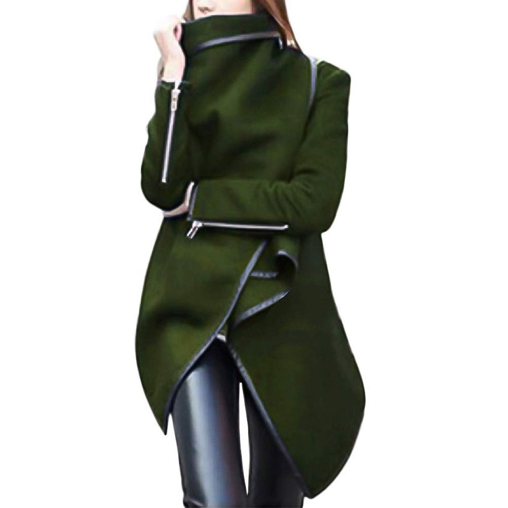 Winter Coats for Women Sale! Chaofanjiancai Irregular Bow Zippers Sleeve Long Warm Coat Wool Jacket Parka Windbreaker Army Green by Chaofanjiancai_Coat