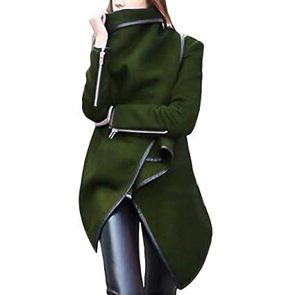 TianWlio Mäntel Frauen Weihnachten Damen Mantel Langarm Strickjacke Jacke Outwear Herbst Winter Unregelmäßige Bow Zipper Lang