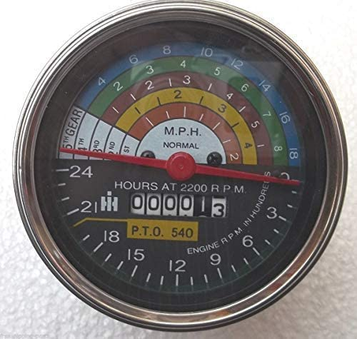 Tachometer 2200 RPM Replacement Tachometer fits IH//Farmall 504 Tractor