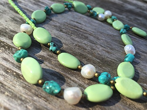 Green Magnesite, Turquoise Nugget, and White Freshwater Pearl Handmade Beaded Necklace - Pearl Green Turquoise Necklace