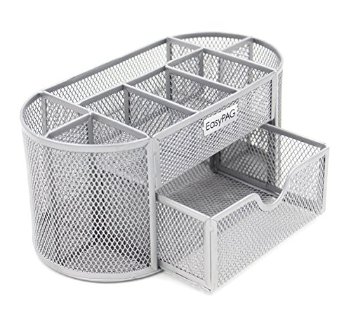 EasyPAG Mesh Office Desk Accessories Organizer 9 Components with Drawer, Silver by EasyPag
