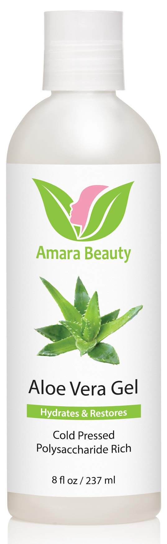 Aloe Vera Gel from Organic Cold Pressed Aloe for Face, Body, and Hair, 8 fl. oz.