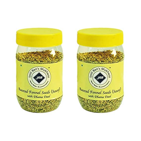Jyoti Ben's Mukhwas - Roasted Fennel Seeds (Saunf) with Dhana Daal - Pack of 2