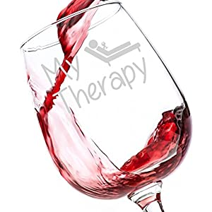 My Therapy Funny Wine Glass 13 oz - Best Birthday Gifts For Women - Unique Gift For Her - Novelty Christmas Present Idea For Mom, Wife, Girlfriend, Sister, Friend, Boss, Coworker, Adult Daughter