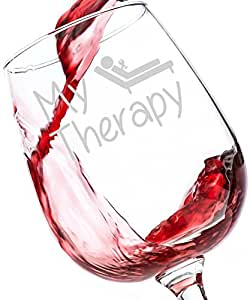 My Therapy Funny Wine Glass 13 oz - Best Birthday Gifts For Women - Unique Gift For Her - Novelty Christmas Present Idea For Mom, Wife, Girlfriend, Sister, Friend, Boss, Coworker, or Adult Daughter