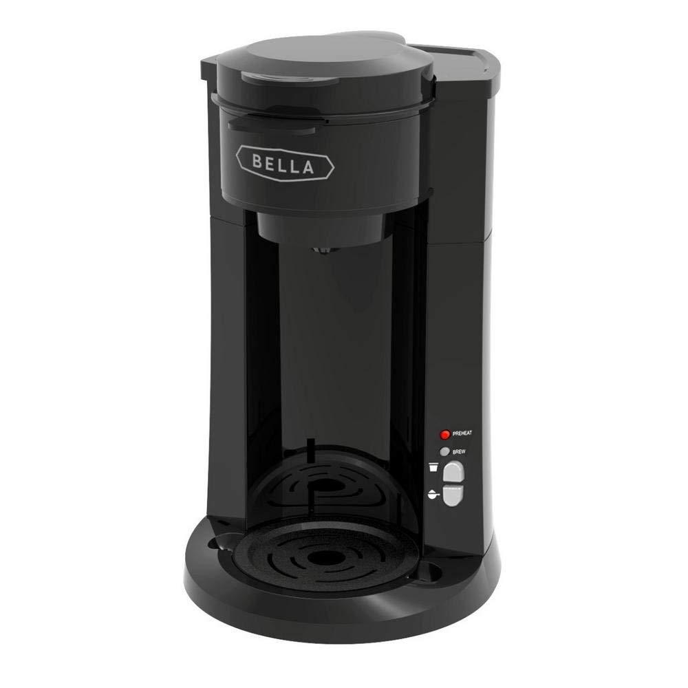 BELLA (14587) Dual Brew Single Serve Coffee Maker Black, K Cup & Ground Coffee Brewer