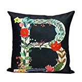 Decorative Pillow Cover - Gotd Multicolor Pillow Flower Letters Pillow Christmas Decorations Decor Square Linen Blend Christmas Pillow Case Sofa Waist Throw Pillow Cushion Cover 45cm 18inch (C)