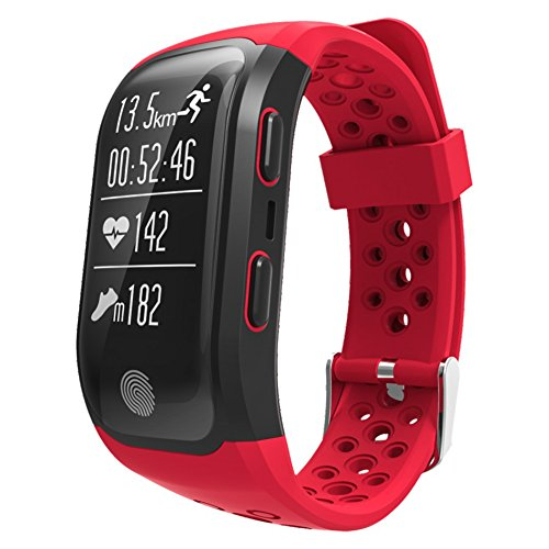 S908 Smart Bracelet GPS Bluetooth Bracelet IP68 Waterproof Wristband Various Sports Models with Heart Rate Monitor for Android and IOS Smart Phones (Red)